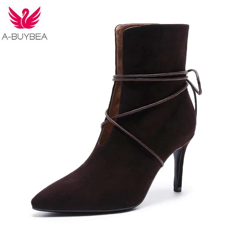 2017 New Women's boots Fashion Women Lace-Up Ankle Boots Platform Round Toe Thin Heels Boots Elegant  Pointed Toe Shoes Woman 2016 custom made fashion brown short ankle boots for women pointed toe lace up platform thin heels stiletto ladies buckle boots