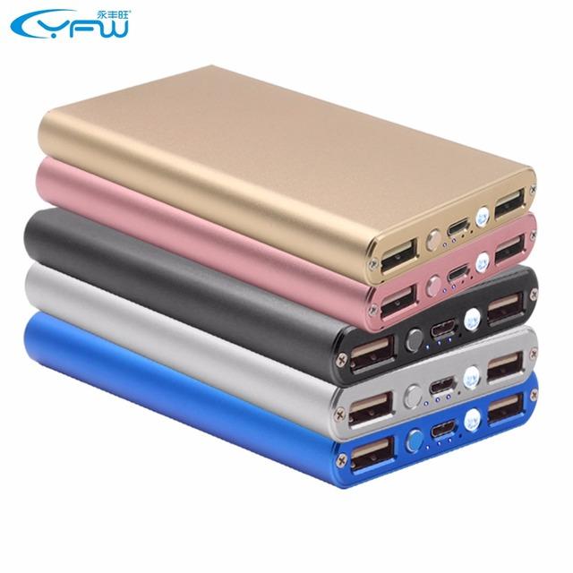 YFW 10000 mAh Power Metal Banco Carregador Ultra Slim Portátil Recarregável Li-Bateria de Polímero de Backup De Energia para Telefones celulares