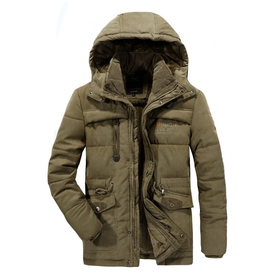 Image 3 - Men Winter Jacket Thick Warm Parka Fleece Fur Hooded Military Jacket Cotton Coat Snow Weather Male Windbreaker Jackets Plus Size-in Parkas from Men's Clothing