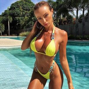 Image 5 - Bikini de mujer, traje de baño 2019 con cristales y diamantes, bañador de realce para mujer, conjunto de Bikini con Top de estilo Halter, ropa de baño brasileña