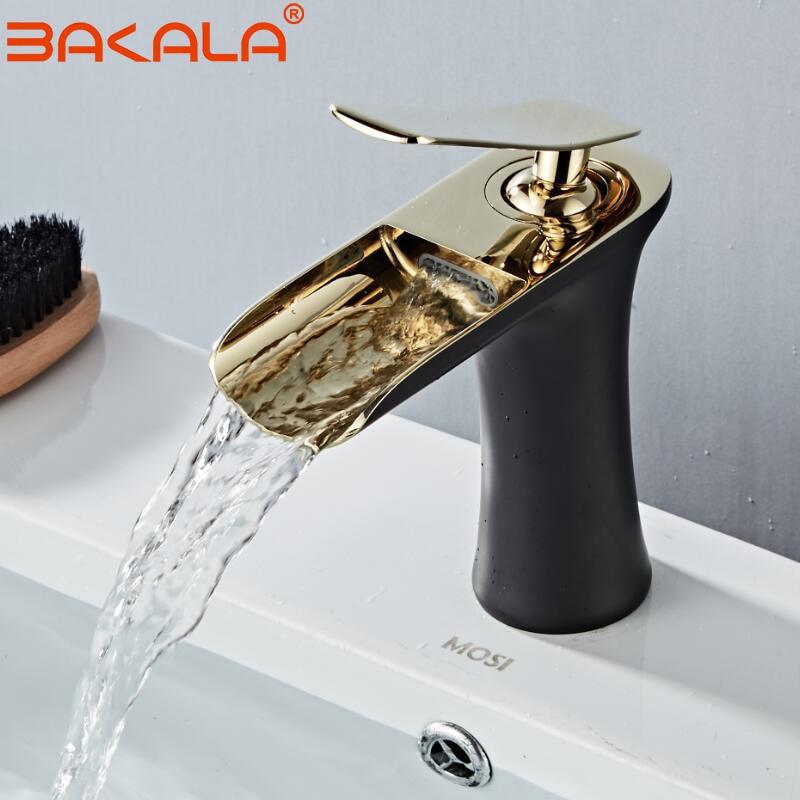 BLACK GOLDEN Basin Faucet Cold and Hot Water Waterfall Bathroom Faucet Single handle Basin Mixer Tap