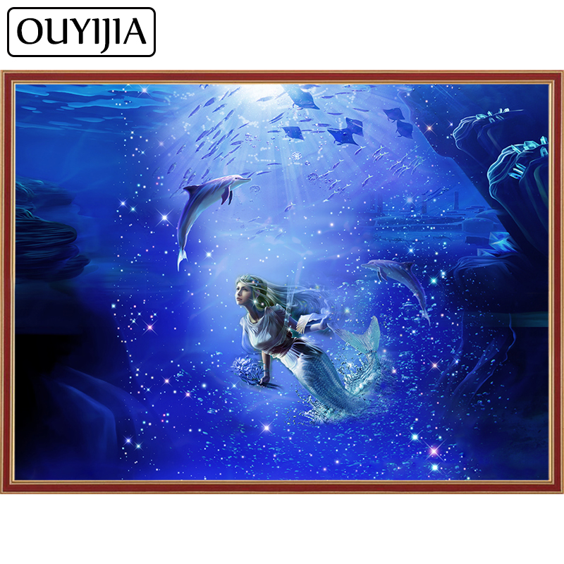 Detail Feedback Questions about OUYIJIA Siren Mermaid 5D DIY Diamond  Painting Square Rhinestone Cross Stitch Animal Embroidery Mosaic Home  Decoration ... 0b65ae2e89dc