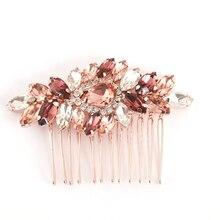 Розовое золото свадебный гребень для волос аксессуары для волос; свадебные ювелирные изделия для волос Головные уборы Румяна Заколка-пряжка с кристаллами в виде пряди волос