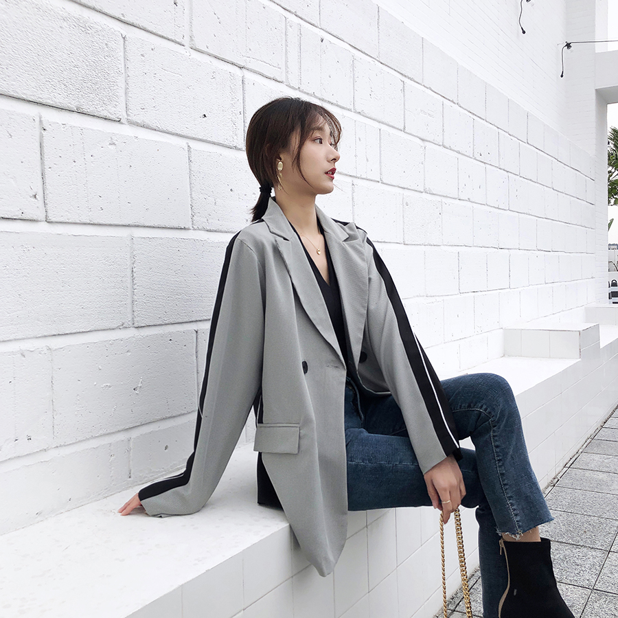 Fashion Double Breasted Patchwork Blazer Female Long Sleeve Office Ladies Blazer 2020 Spring Jacket Women Outerwear Coats WB17