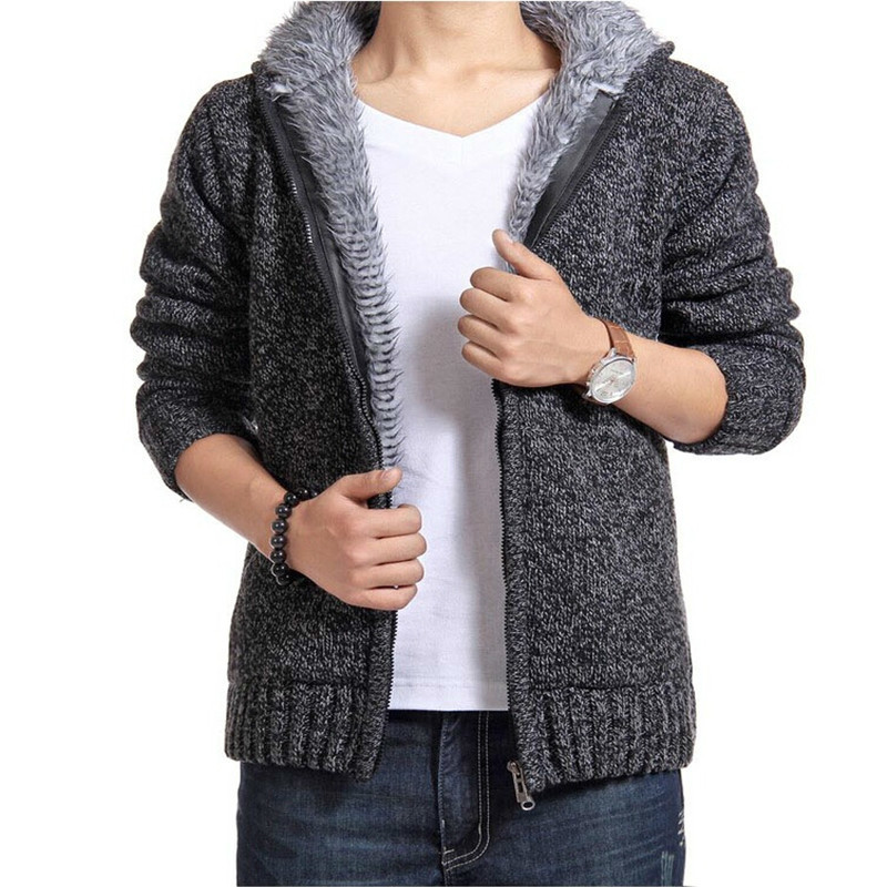 2019 new man winter warm thick velvet cotton hooded Sweatshirts mens winter padded knitted casual hoodies Cardigan coat male