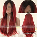 2016 New Sexy Red Synthetic Lace Front Wig Glueless Straight black to red Heat Resistant hair Wigs For Black Women Free shipping