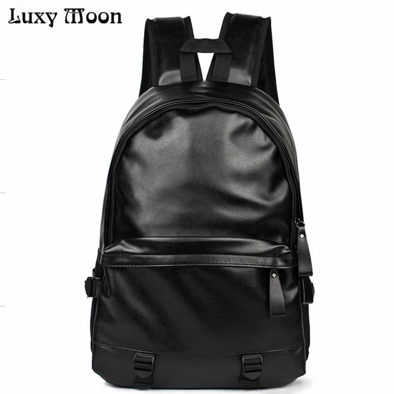 2016 New designer fashion black men s backpacks preppy style brown women high quality leather shoulder