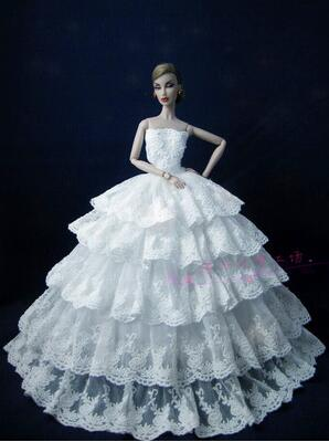 case dress for barbie doll clothes Lace fishtail dress up doll wedding dress supermodel  ...
