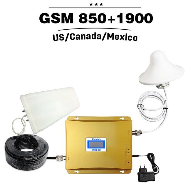 2G 3G GSM 850 UNIDS 1900 de Doble Banda Repetidor 65dB 3G UMTS 850 mhz 4G LTE1900mhz Banda 2 Celular Amplificador de Señal de Teléfono Celular amplificador