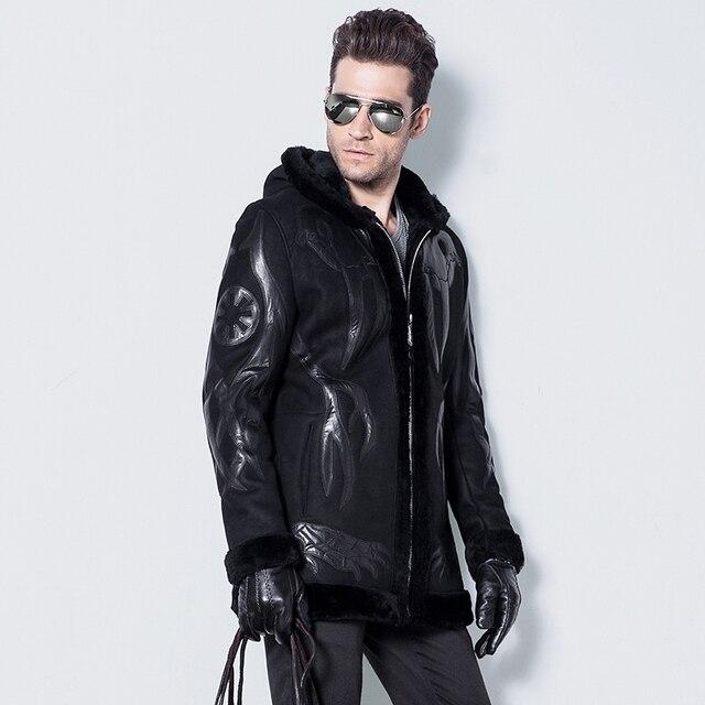 Men's Lamb Fur Jacket Double-Face Fur Coat Sheep Fur Leather Jacket Fashion Slim Abstract painting Long Casual Jacket   GSJ120