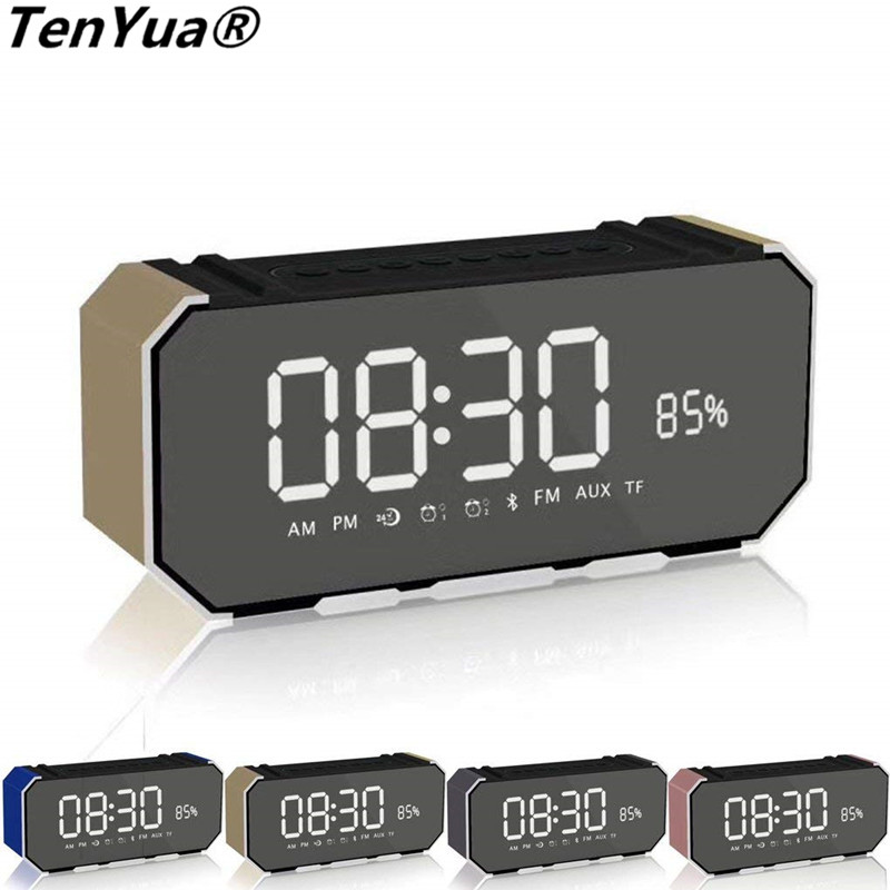 TenYua DG100 Portable Alarm Clock Radio Clock LED Subwoofer Card Stereo Wireless Bluetooth