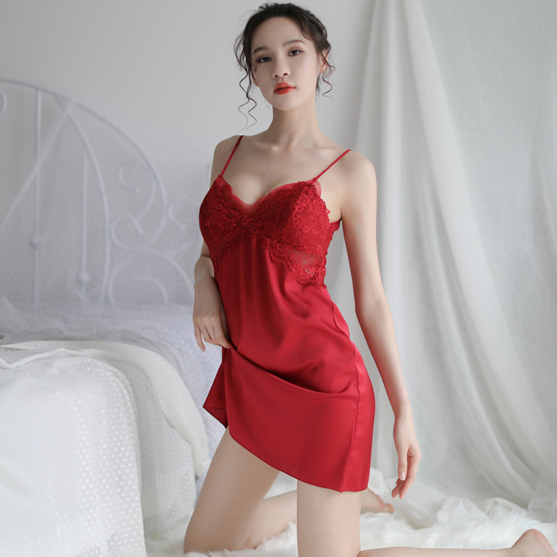 Women Sleep Lounge Sleepwear with Chest Pads Satin Sexy Ladies Nightgown Silk Night Dress Elegant Lace Home Dress Clothes