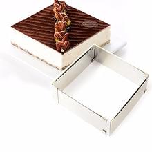 Stainless Steel Square Adjustable Mousse Cake Moulds Fondant Decorating Ring Slicer Cutter DIY Baking Tools