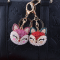 Fox Inlay Pearl Rhinestone Crystal Keyrings Key Chains Holder Purse Bag christmas Gift Key Pendant llaveros