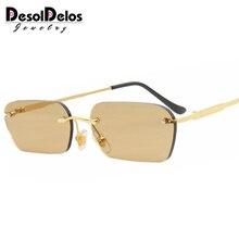 DesolDelos Narrow Sunglasses Men Rimless Summer 2019 Red Blu