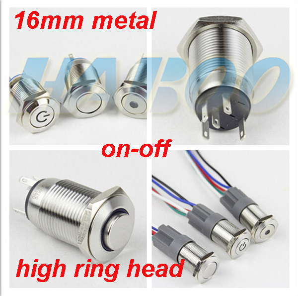 HABOO on-off switch16mm hign head with led angel eye switch stainless steal 1NO+1NC metal push button switch 12V