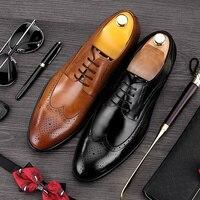 Vintage Britischen Mann Geschnitzt Brogue Schuhe Top Qualität Aus Echtem Leder Formalen Kleid Oxfords Runde Kappe männer Flügelspitze Wohnungen DF550