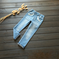 Spring girls jeans flowers embroidered pant children's clothing wholesale