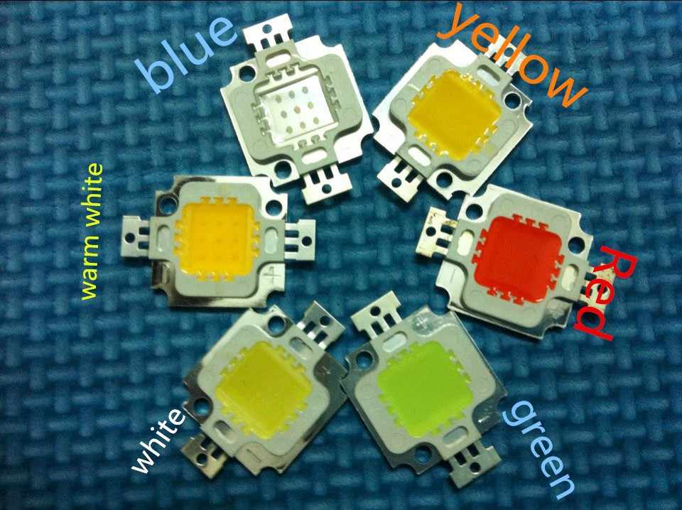 50pcs/LOT Wholesale 10W LED chip Integrated High power 10w LED Beads RGB White Warm white red green blue yellow 20*48mil Chips