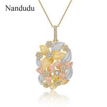 Nandudu Blooming Flower Pendant Necklace for Women Polished Tricolor Gold Color Chain Necklaces with AAA Zircon Bijouterie CN413(China)