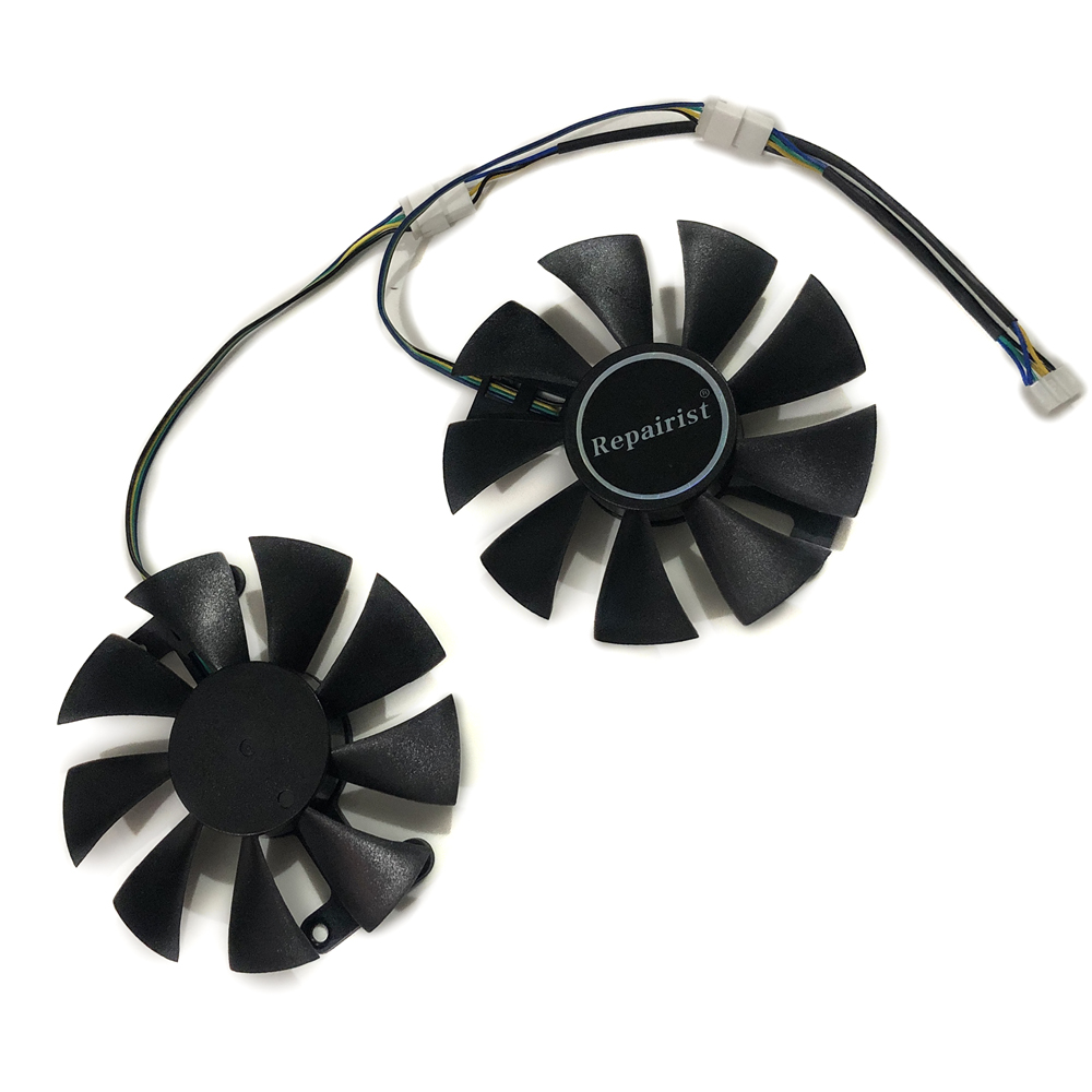 Repairist 2pcs Geforce GTX 1050/1050TI GPU Cooler fan For ZOTAC GeForce GTX1050 GTX1050Ti X-Gaming OC Graphics Card cooling image