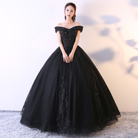 Black Apricot Quinceanera Dresses Off The Shoulder Appliques Beaded Vestido Debutante 15 Anos 2019 New Princess Puffy Ball Gowns