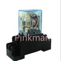 220 V AC 110 V 12 V 24 V MINI bobina de relé DPDT LY2NJ 10A com soquete Base