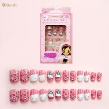 24 stks/set Roze Suiker Ontwerp Nep Nagels DIY Full-cover Faux Ongles Pre-lijm Acryl Valse Nail Art tips Manicure voor Kids(China)