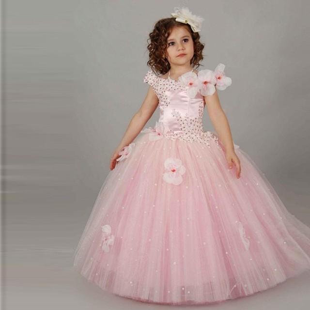 d8e56957bb41 Cute Light Pink Flower Girl Dresses Kids Princess Gown With Handmade Flowers  Crystals First Communication Dress Graduation Gown