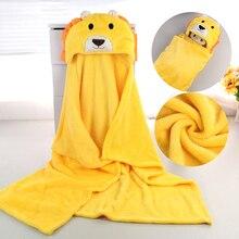 Милое мягкое одеяло с капюшоном и изображением животных из мультфильмов; детский банный халат с изображением животных для малышей; детское банное полотенце