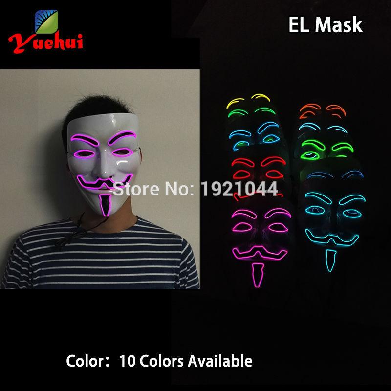 10 COLORES Elección NUEVA Fashion Flashing EL wire Vendetta mask - Para fiestas y celebraciones - foto 3