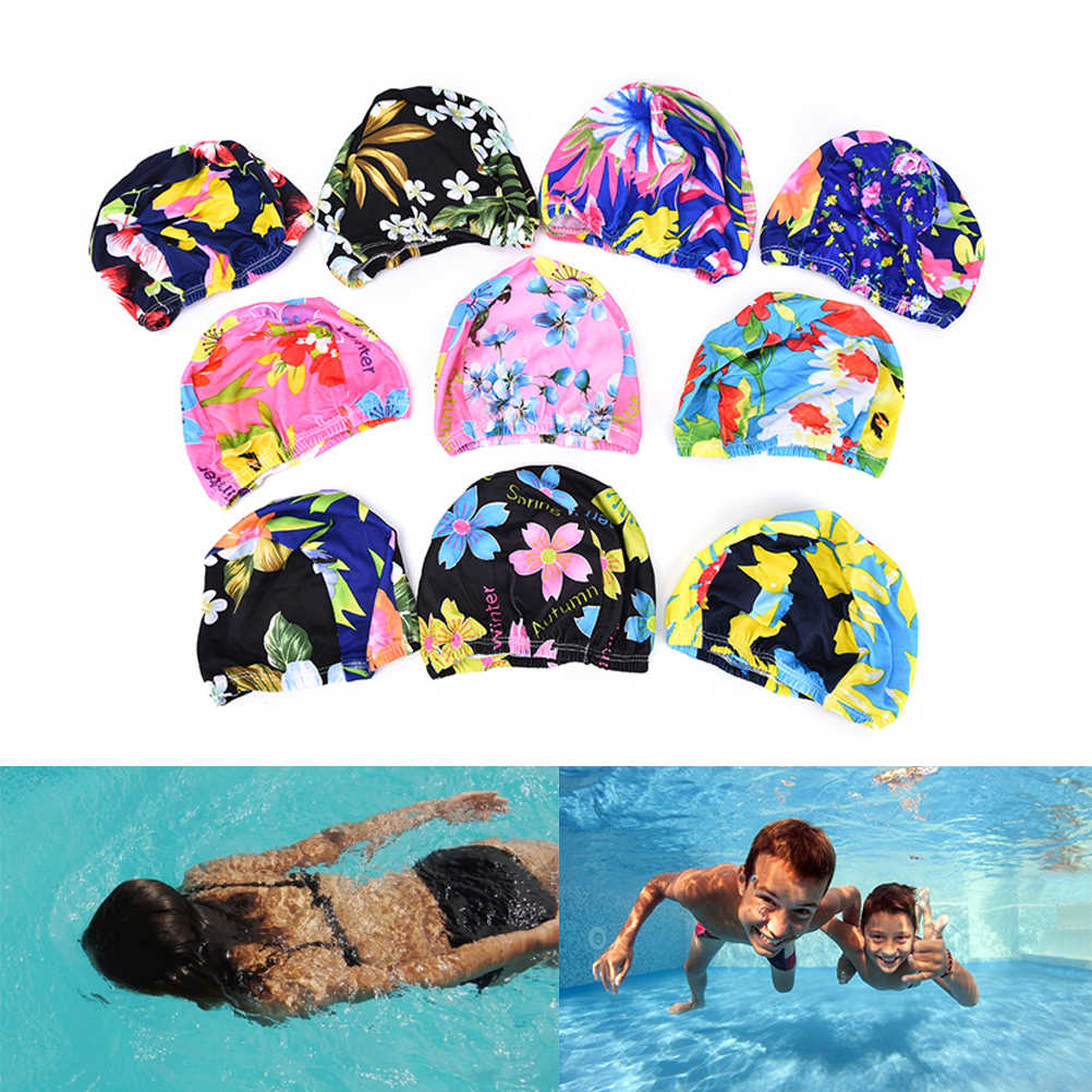 3f26ce94388 Women Floral Print Swim Hat Swimming Cap Long Hair Ear Protection Caps  Ruched Swimming Caps For