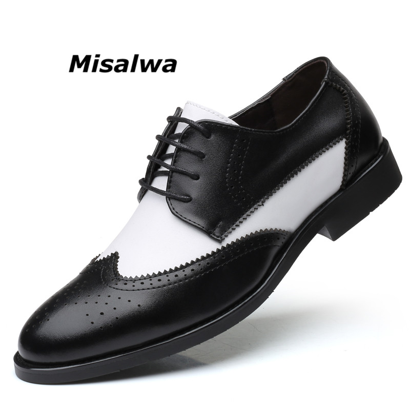 Misalwa Italian Stylish Big Size 38-48 Men's Dress Shoes Blucher Oxford Shoe Gents Outfit Party Wedding Leather Male Footwear
