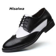 Misalwa Italian Stylish Big Size 38 48 Mens Dress Shoes Blucher Oxford Shoe Gents Outfit Party Wedding Leather Male Footwear
