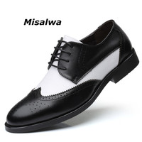 Misalwa Italian Stylish Big Size 38 48 Men's Dress Shoes Blucher Oxford Shoe Gents Outfit Party Wedding Leather Male Footwear