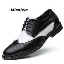 Misalwa İtalyan şık büyük boy 38 48 erkek elbise ayakkabı Blucher Oxford ayakkabı erkekler kıyafet parti düğün deri erkek ayakkabı