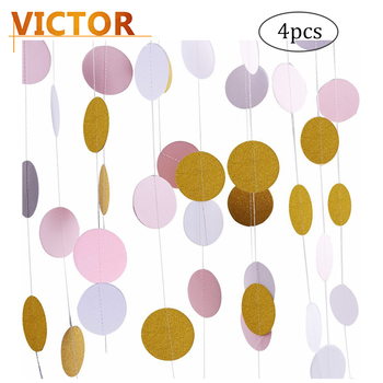 4pcs DIY Glitter Party Decorations Garland,Gold White Pink Circle Paper Dots Hanging for Wedding Birthday Decoration Supplies  circle