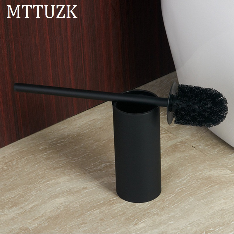 MTTUZK Floor-standing Matte Black Toilet Brush Set 304 Stainless Steel Cleaning Brush Creative Toilet Brush Holder