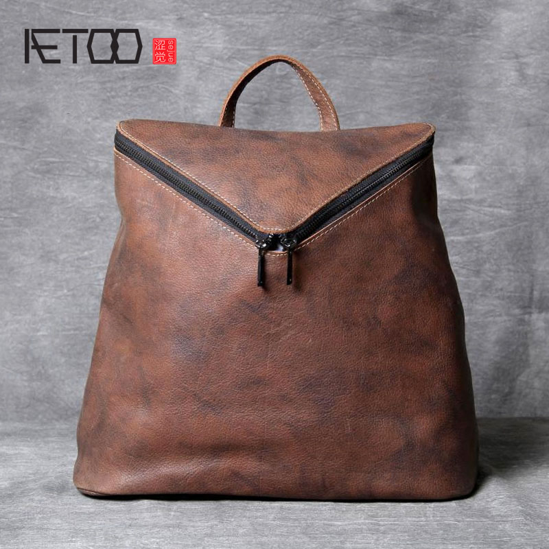 AETOO Original personality first layer of leather shoulder bag female hand-rubbed leather backpack wild Joker student bag qiaobao 2018 new korean version of the first layer of women s leather packet messenger bag female shoulder diagonal cross bag