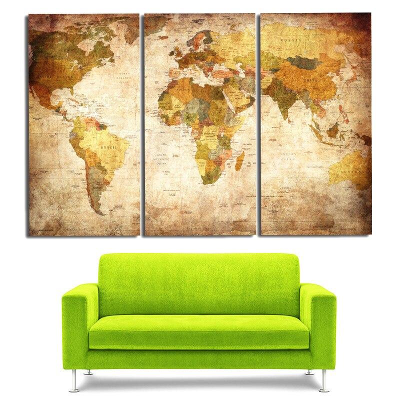 MONICA Vintage Weltkarte 3 Panel Leinwand Malerei Ölfarbe Druck Auf  Leinwand Bild Wand Druck Bild Wohnzimmer Unframed