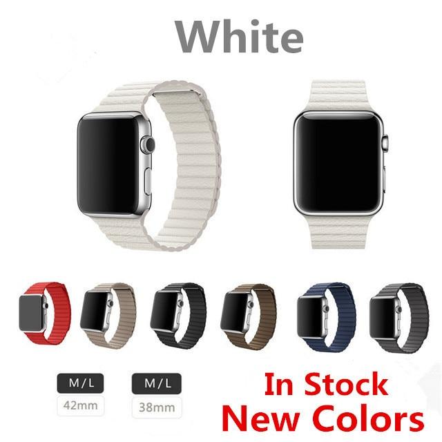 Blanco banda de lazo lazo de cuero para apple watch correa de cuero genuino para apple watch band nuevo color