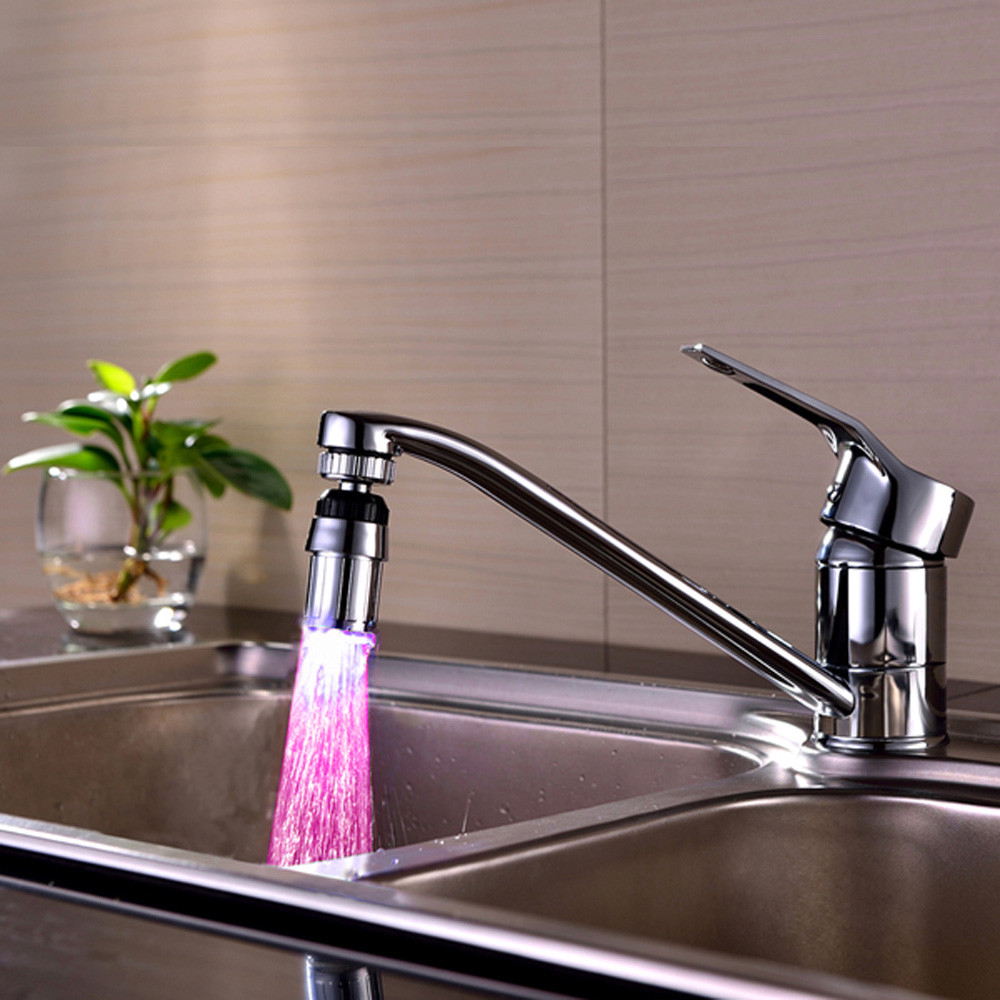LED Faucet Bathroom KitchenSink 7 Colorss Change Water Glow Water ...