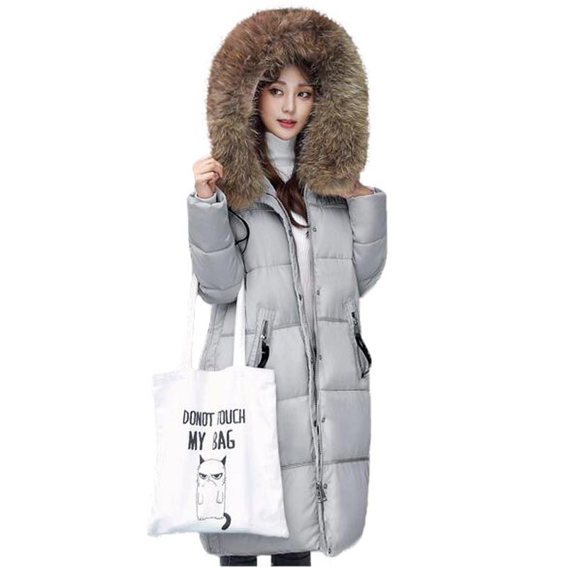 2017 New Women Jacket Thick Warm Winter Coat Large Fur Collar Cotton Coat Hooded Long Padded Jacket Female Plus Size PW0347 women thick winter large size long section padded hooded outerwear new fashion fur collar slim padded cotton warm coat jacket