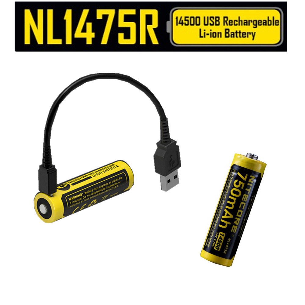 4 pcs NITECORE NL1475R 750mAh Rechargeable Batteries built in Micro USB charge port 14500 battery 3