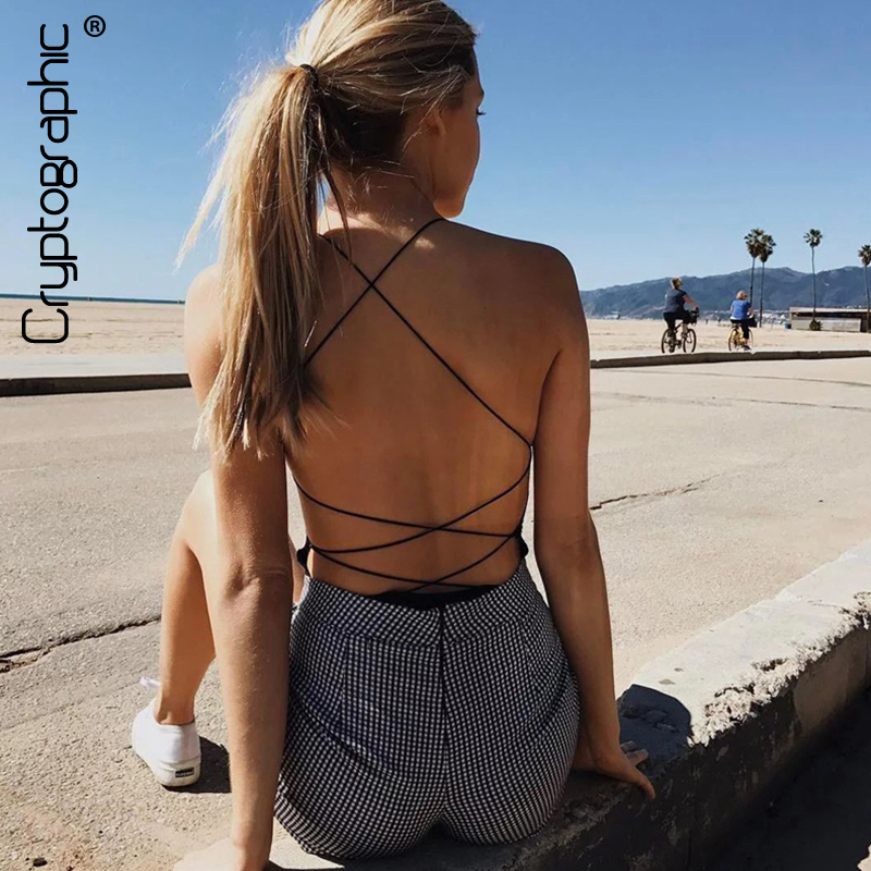 Cryptographic lace up summer   jumpsuit   romper fitness halter sexy bodysuit women catsuit leotard sleeveless backless one piece