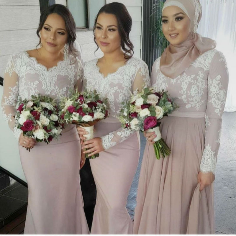 Cheap Sale White Lace Appliques Long Sleeves Bridesmaid Dresses Muslim Arabic Women Formal Gowns Elegant Mermaid Party Dress For Wedding