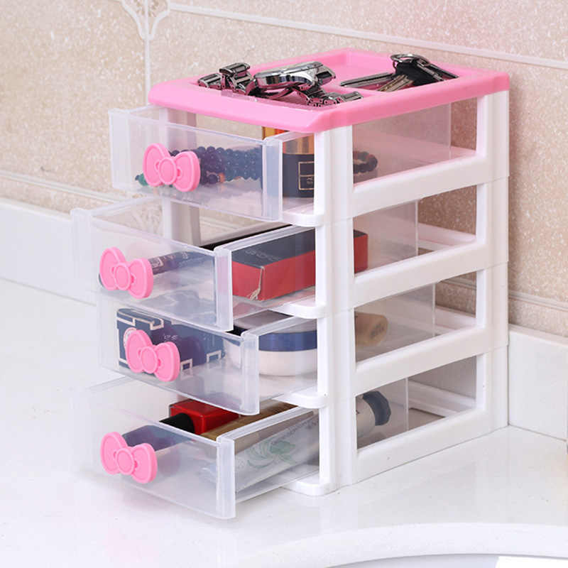 Makeup Jewelry Storage Box Multi-layer Drawers Organizer Classified Cosmetic Bin Cute Girl Pretty Organizer Office Chest of Draw