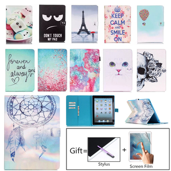 For Apple iPad 2 3 4 Case Fashion Tablet PU Leather Flip Stand Case For iPad2 iPad3 iPad4 Painted Cover Funda Skin Shell