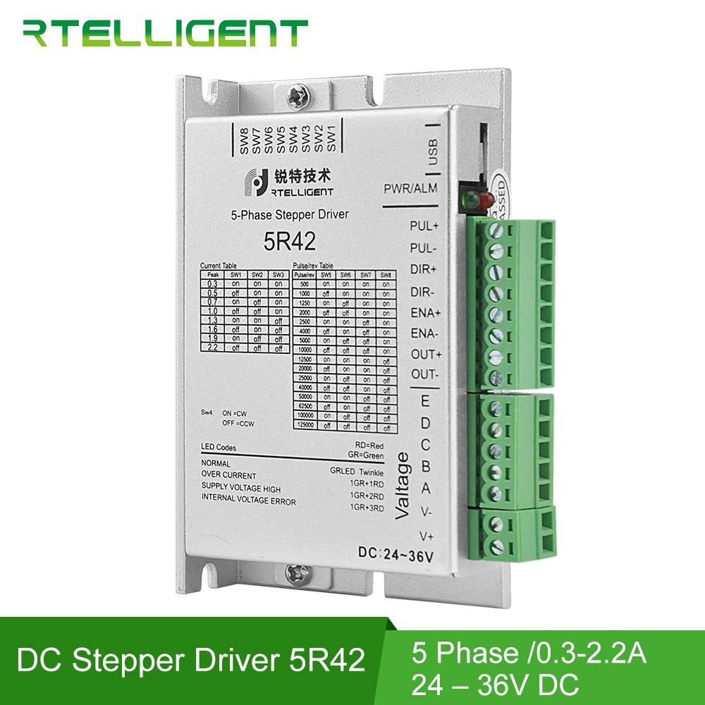 Rtelligent Nema 17 5Phase 0.72 degree Stepper Motor Driver AC/DC Motor Driver Controller for five phase Nema17 Stepping Motor