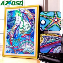 AZQSD DIY Special Shape Diamond Embroidery Dolphin Rhinestone Picture Painting Animal Mosaic Kit Home Decor